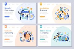 Páginas del aterrizaje del negocio Imágenes modernas del vector de la promoción de la gente de la plantilla de la disposición de  libre illustration