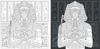 Páginas del colorante con faraón egipcio stock de ilustración