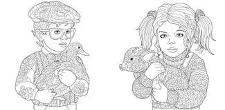 Páginas del colorante con los niños que sostienen el pato y el cerdo libre illustration