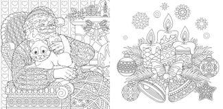 Páginas del colorante de la Navidad Libro de colorear para los adultos Santa Claus con un gato Fondo del Año Nuevo Ornamentos de  ilustración del vector