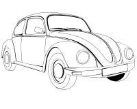 Páginas del colorante para imprimir el tipo 1 de Volkswagen ilustración del vector