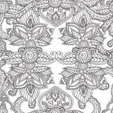 Páginas del colorante para los adultos Elementos de Seamles Henna Mehndi Doodles Abstract Floral Fotografía de archivo libre de regalías