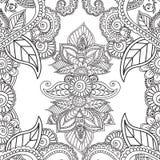 Páginas del colorante para los adultos Elementos de Seamles Henna Mehndi Doodles Abstract Floral Foto de archivo