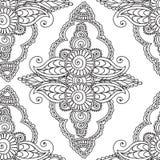 Páginas del colorante para los adultos Elementos de Seamles Henna Mehndi Doodles Abstract Floral Fotografía de archivo