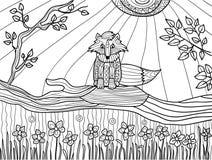 Páginas del libro de colorear para los adultos: cachorro divertido del zorro en el árbol caido, vector libre illustration