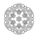 Páginas del libro de colorear para los niños y los adultos Copo de nieve abstracto dibujado mano Imagen de archivo