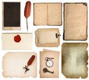 Páginas del libro del vintage, tarjetas, pedazos aislados Fotografía de archivo