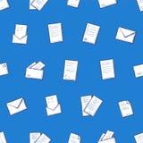 Páginas do contrato e ícones sem emenda do teste padrão do envelope ilustração stock