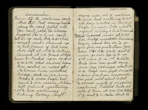 Páginas do diário do soldado da Primeira Guerra Mundial imagens de stock