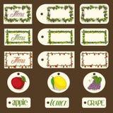 Páginas do menu de Apple, cartão e grupo do projeto da etiqueta Imagens de Stock Royalty Free