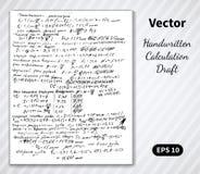 Páginas escritas à mão do vetor de cálculos do esboço Foto de Stock