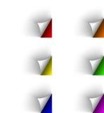 Páginas giradas branco em fundos diferentes das cores ilustração do vetor