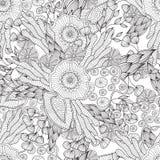 Páginas para el libro de colorear adulto Dé el marco floral modelado ornamental étnico artístico exhausto en garabato Fotos de archivo libres de regalías