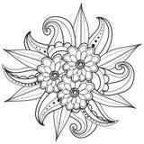 Páginas para o livro para colorir adulto Entregue o quadro floral modelado ornamental tirado no estilo da garatuja Foto de Stock Royalty Free