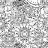 Páginas para o livro para colorir adulto Entregue ornamental étnico artístico o quadro floral modelado tirado na garatuja Foto de Stock Royalty Free