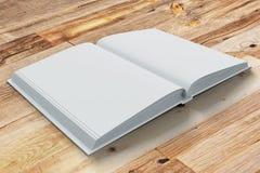 Páginas vazias do diário aberto na tabela de madeira ilustração royalty free