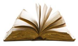 Páginas vazias velhas abertas do livro, papel amarelo isolado no branco Imagens de Stock