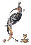 Pájaro étnico del ornamento stock de ilustración