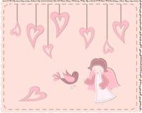 Pájaro acolchado y ángel con los corazones Foto de archivo libre de regalías