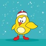 Pájaro amarillo tonto del día de fiesta de la Navidad pequeño Foto de archivo libre de regalías