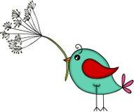 Pájaro azul con la flor del diente de león Imagen de archivo libre de regalías