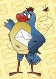 Pájaro azul con un sobre Imágenes de archivo libres de regalías