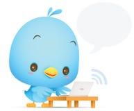 Pájaro azul de Kawaii usando el ordenador portátil Foto de archivo libre de regalías