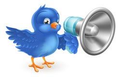 Pájaro azul de la historieta con el teléfono mega Fotografía de archivo