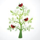 Pájaro bonito en un árbol decorativo ilustración del vector