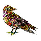 Pájaro colorido dibujado mano en estilo del zentangle Silueta del ornamental de la corona Modelo del ornamental del hippie Tatuaj stock de ilustración