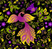 Pájaro colorido y planta abstracta Fotos de archivo