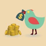 Pájaro con el bolso y las monedas del dinero Imagenes de archivo