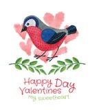 Pájaro con la tarjeta de las ramitas y de los corazones Imagen de archivo libre de regalías