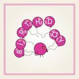 Pájaro de la historieta con globos rosados Stock de ilustración