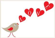 Pájaro de la tarjeta del día de San Valentín y fondo de los corazones Imagenes de archivo