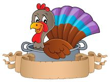 Pájaro de Turquía en la bandera 1 del tema de la cacerola libre illustration