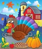 Pájaro de Turquía en la imagen 2 del tema de la cacerola stock de ilustración