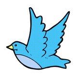 pájaro de vuelo cómico de la historieta Imágenes de archivo libres de regalías