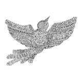 Pájaro de vuelo dibujado mano del ornamento fotos de archivo libres de regalías