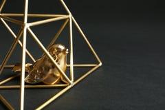 Pájaro decorativo en pirámide del oro en el fondo negro, primer foto de archivo libre de regalías