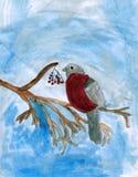Pájaro del Bullfinch - arte del niño Imagen de archivo libre de regalías