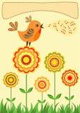 Pájaro del canto. Tarjeta de felicitación. Fotos de archivo libres de regalías