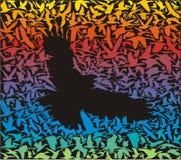 Pájaro despredador abstracto y su presa Fotos de archivo