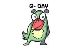 ¡Pájaro Emoji que cita día del G-! ilustración del vector