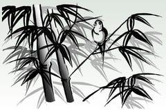 Pájaro en bambú stock de ilustración