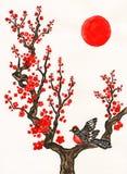 Pájaro en la ramificación con las flores rojas, pintando Foto de archivo