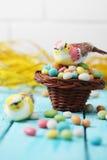 Pájaro en una pequeña cesta Foto de archivo libre de regalías