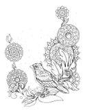 Pájaro en una rama, modelos, flores, ornamentos Fotografía de archivo