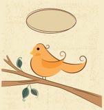 Pájaro en una rama y burbujas del discurso Imagenes de archivo