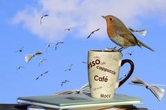 Pájaro en una taza de café en una pila del libro Fotos de archivo libres de regalías